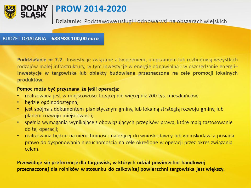 PROW 2014-2020 Działanie: Podstawowe usługi i odnowa wsi na obszarach wiejskich