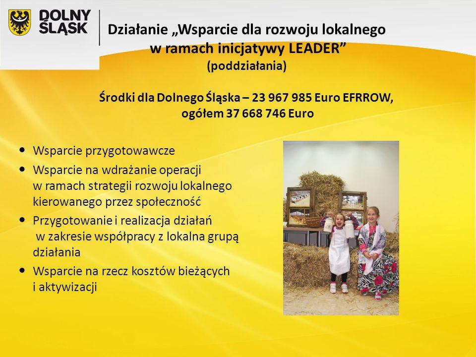"""Działanie """"Wsparcie dla rozwoju lokalnego w ramach inicjatywy LEADER (poddziałania) Środki dla Dolnego Śląska – 23 967 985 Euro EFRROW, ogółem 37 668 746 Euro"""