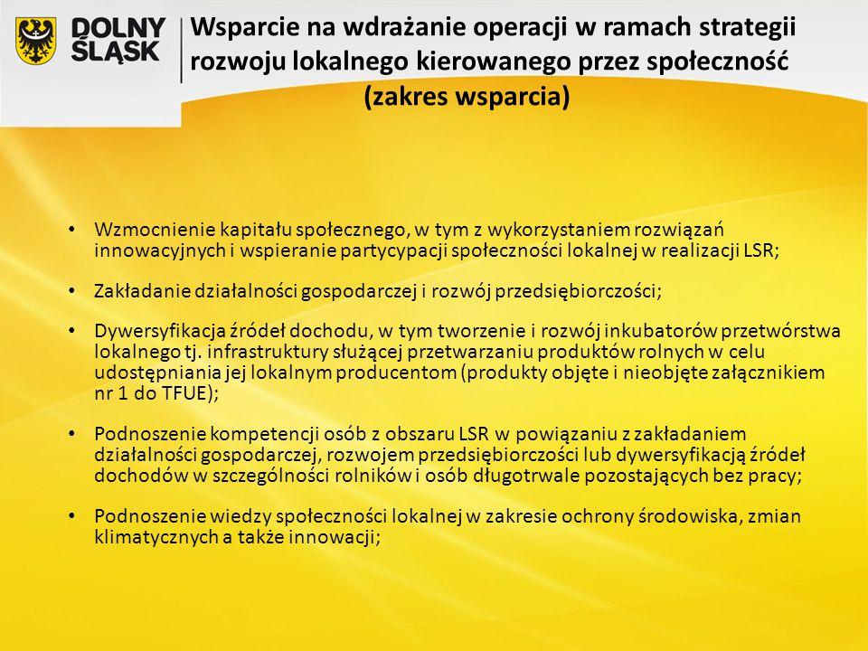 Wsparcie na wdrażanie operacji w ramach strategii rozwoju lokalnego kierowanego przez społeczność