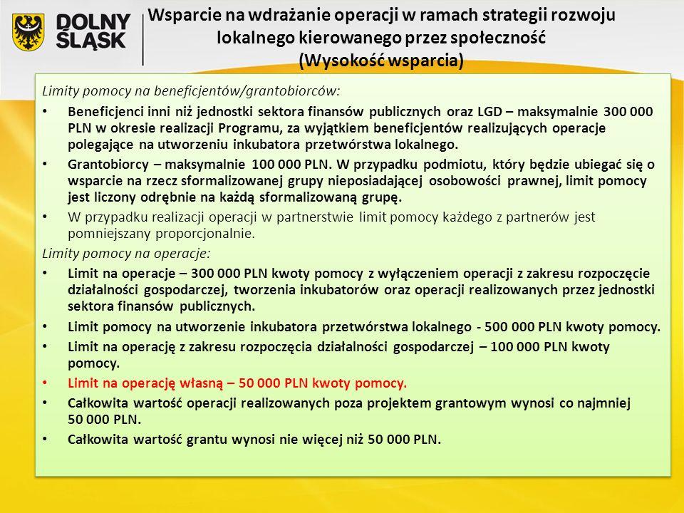 Wsparcie na wdrażanie operacji w ramach strategii rozwoju lokalnego kierowanego przez społeczność (Wysokość wsparcia)