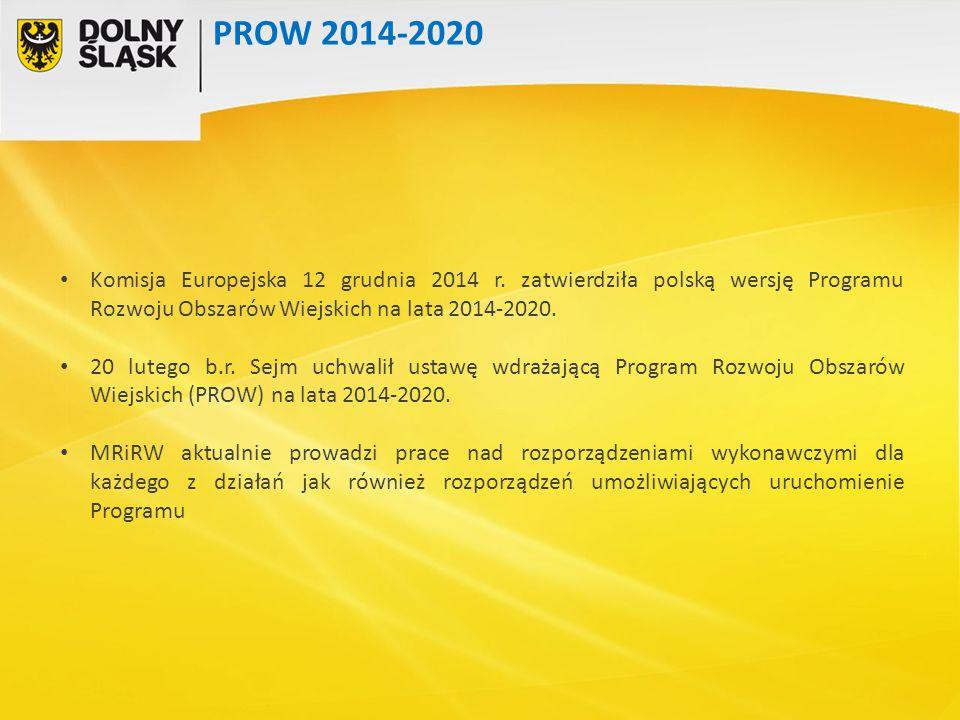 PROW 2014-2020 Komisja Europejska 12 grudnia 2014 r. zatwierdziła polską wersję Programu Rozwoju Obszarów Wiejskich na lata 2014-2020.