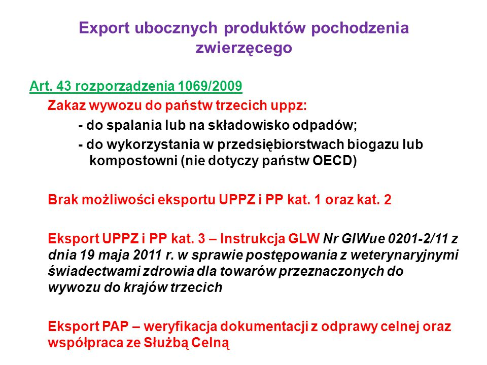 Export ubocznych produktów pochodzenia zwierzęcego