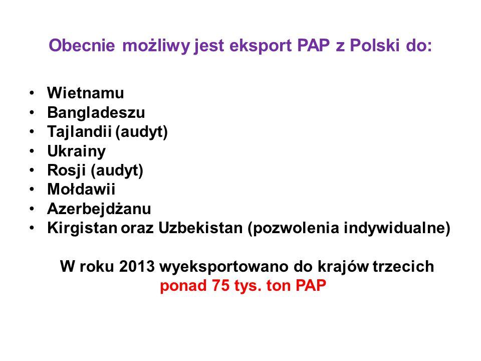 Obecnie możliwy jest eksport PAP z Polski do: