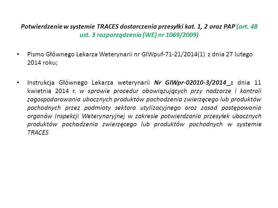 Potwierdzenie w systemie TRACES dostarczenia przesyłki kat