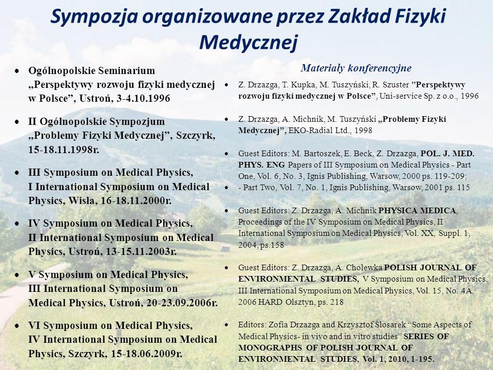Sympozja organizowane przez Zakład Fizyki Medycznej