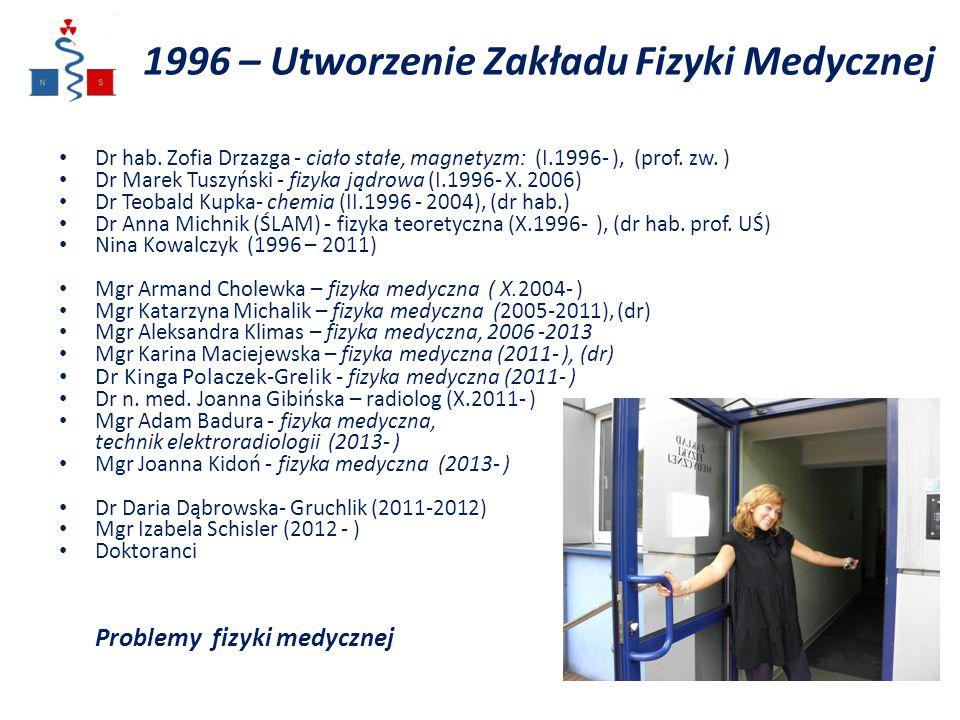 1996 – Utworzenie Zakładu Fizyki Medycznej