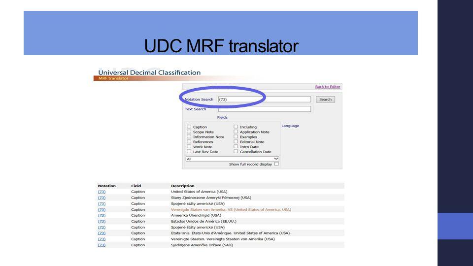 UDC MRF translator
