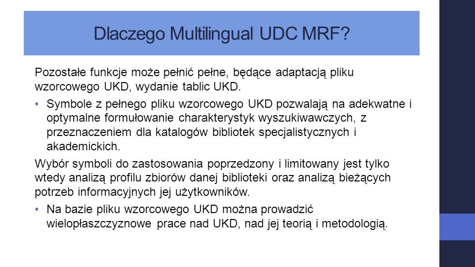 Dlaczego Multilingual UDC MRF