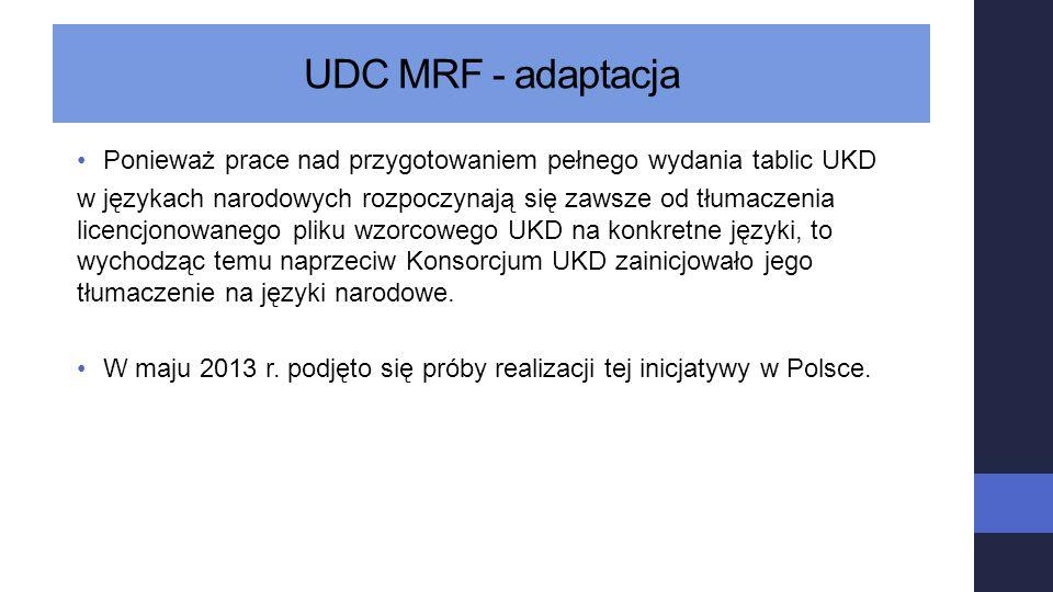 UDC MRF - adaptacja Ponieważ prace nad przygotowaniem pełnego wydania tablic UKD.