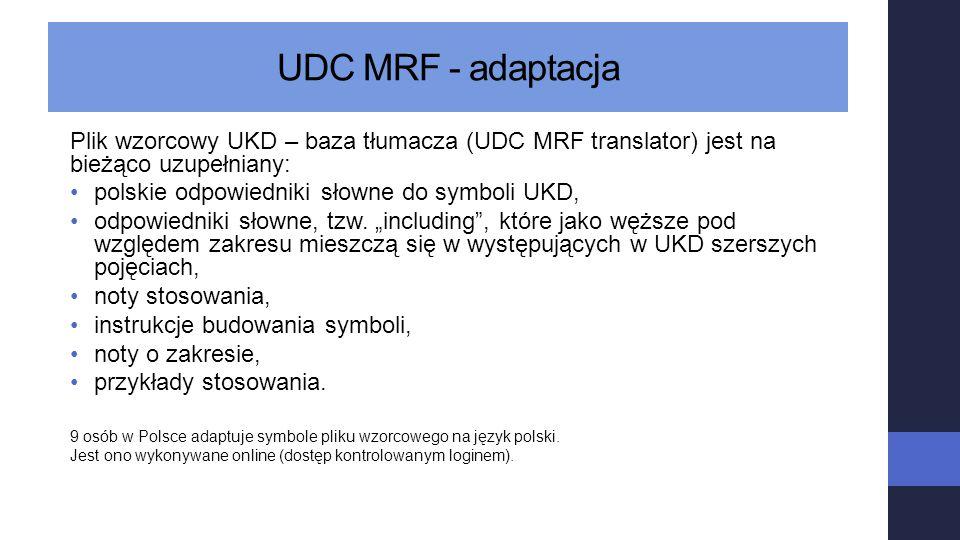UDC MRF - adaptacja Plik wzorcowy UKD – baza tłumacza (UDC MRF translator) jest na bieżąco uzupełniany: