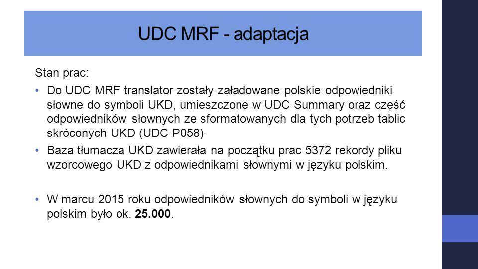 UDC MRF - adaptacja Stan prac: