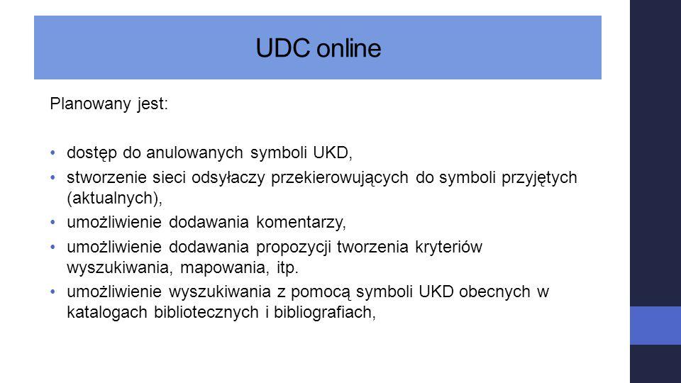UDC online Planowany jest: dostęp do anulowanych symboli UKD,