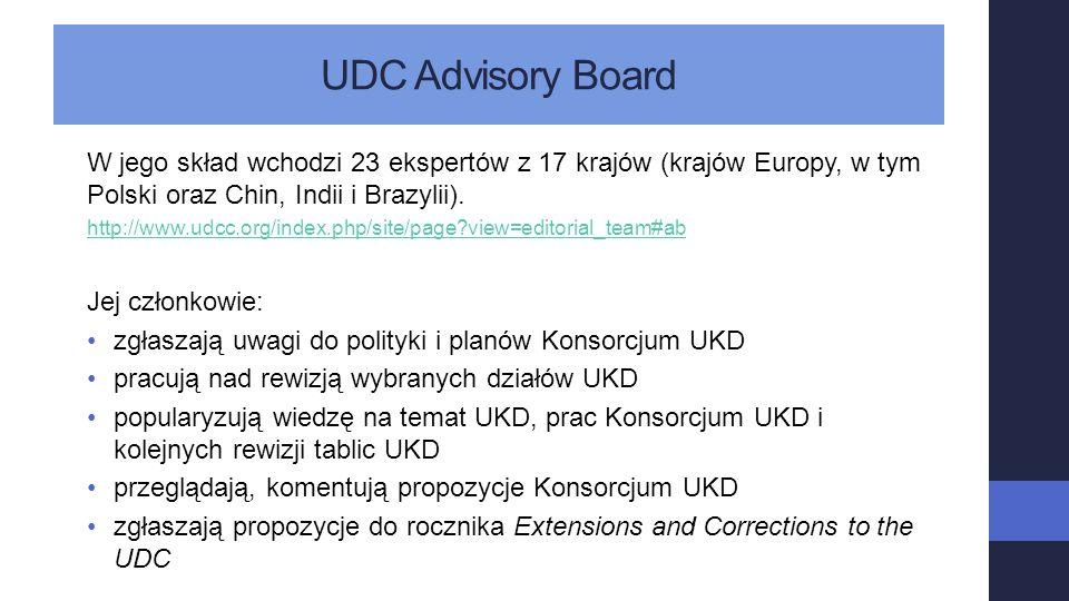 UDC Advisory Board W jego skład wchodzi 23 ekspertów z 17 krajów (krajów Europy, w tym Polski oraz Chin, Indii i Brazylii).