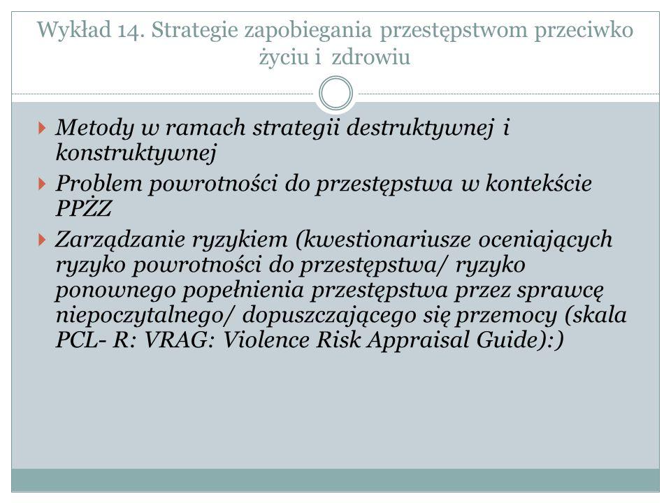 Wykład 14. Strategie zapobiegania przestępstwom przeciwko życiu i zdrowiu