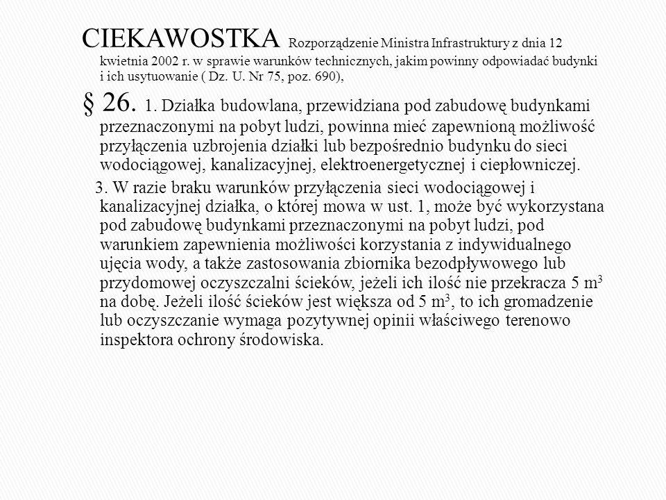 CIEKAWOSTKA Rozporządzenie Ministra Infrastruktury z dnia 12 kwietnia 2002 r. w sprawie warunków technicznych, jakim powinny odpowiadać budynki i ich usytuowanie ( Dz. U. Nr 75, poz. 690),