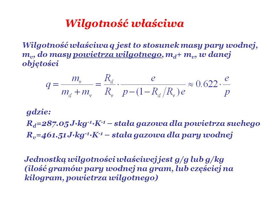 Wilgotność właściwa Wilgotność właściwa q jest to stosunek masy pary wodnej, mv, do masy powietrza wilgotnego, md+ mv, w danej objętości.