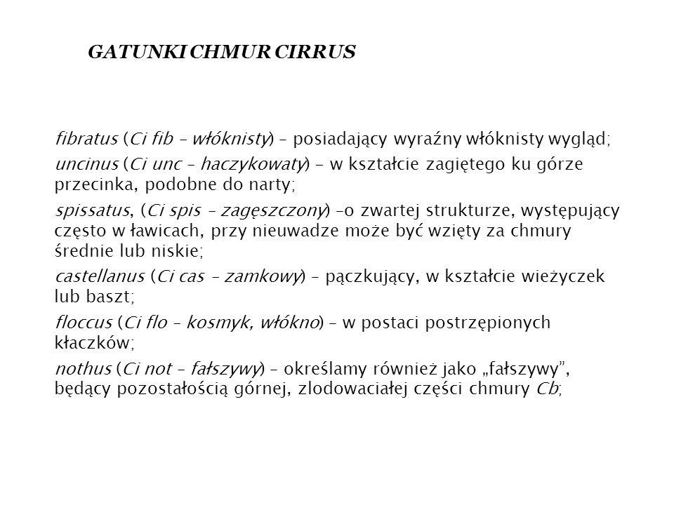 GATUNKI CHMUR CIRRUS fibratus (Ci fib – włóknisty) – posiadający wyraźny włóknisty wygląd;