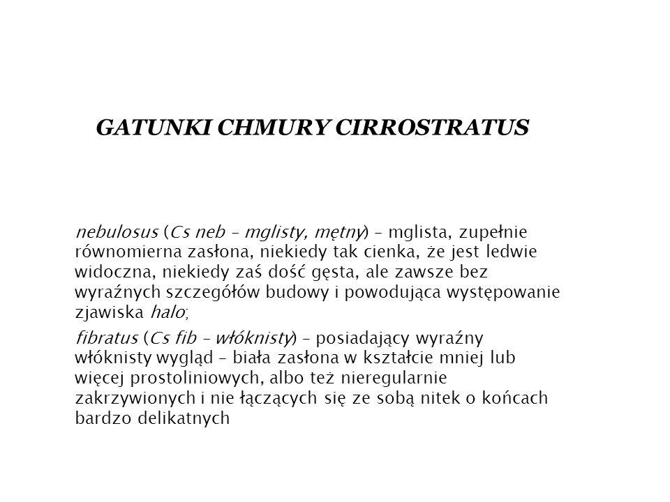 GATUNKI CHMURY CIRROSTRATUS