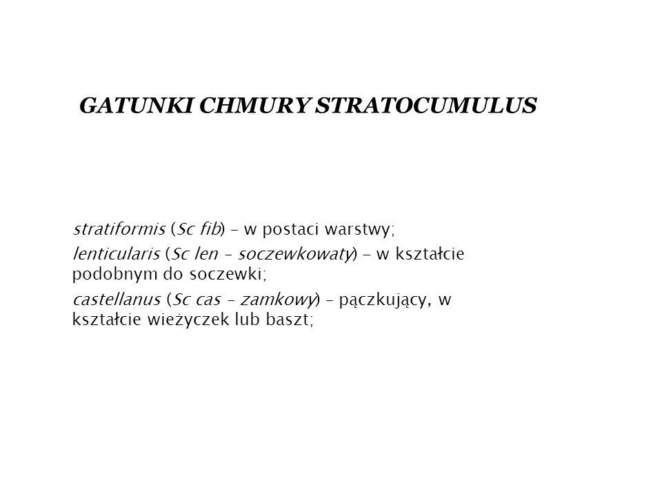 GATUNKI CHMURY STRATOCUMULUS