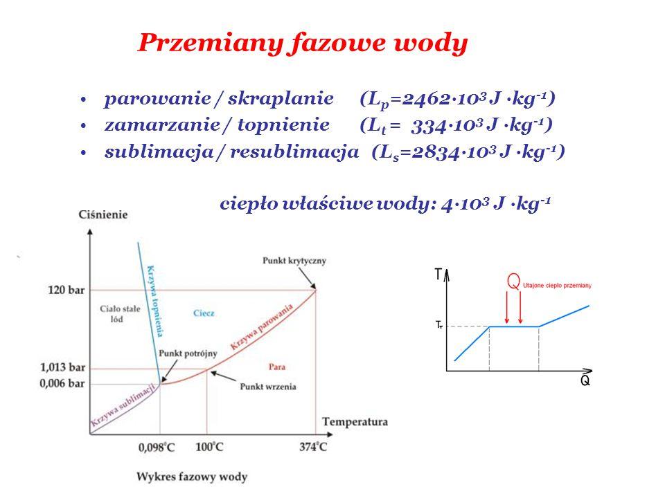 Przemiany fazowe wody parowanie / skraplanie (Lp=2462·103 J ·kg-1)