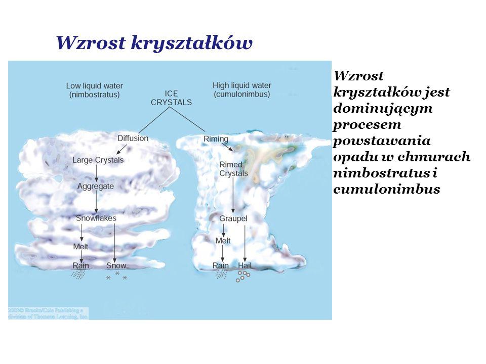 Wzrost kryształków Wzrost kryształków jest dominującym procesem powstawania opadu w chmurach nimbostratus i cumulonimbus.