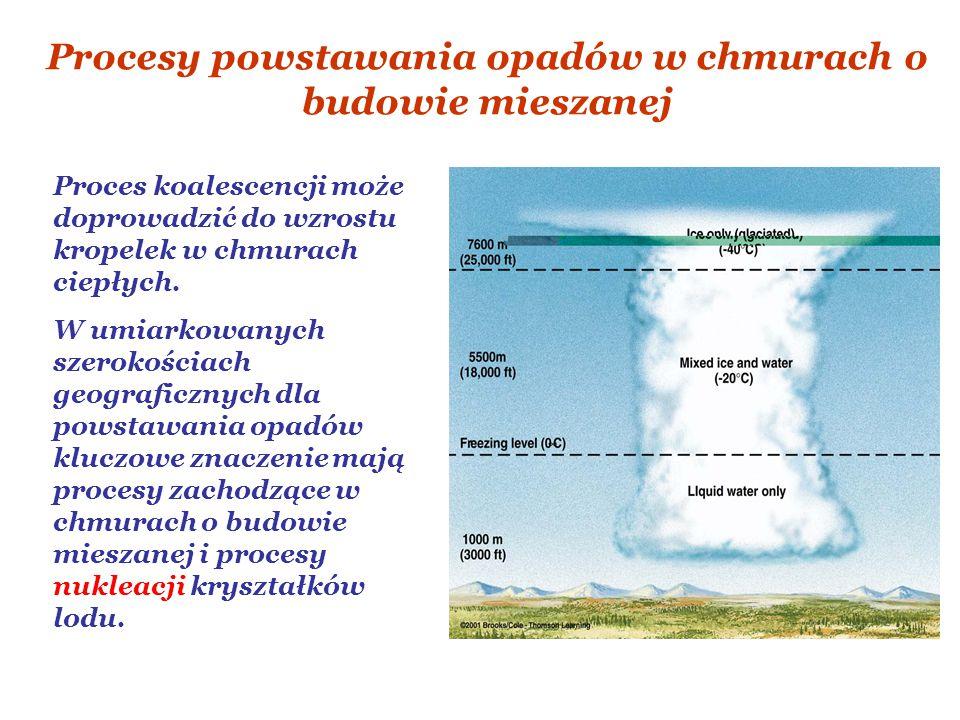 Procesy powstawania opadów w chmurach o budowie mieszanej