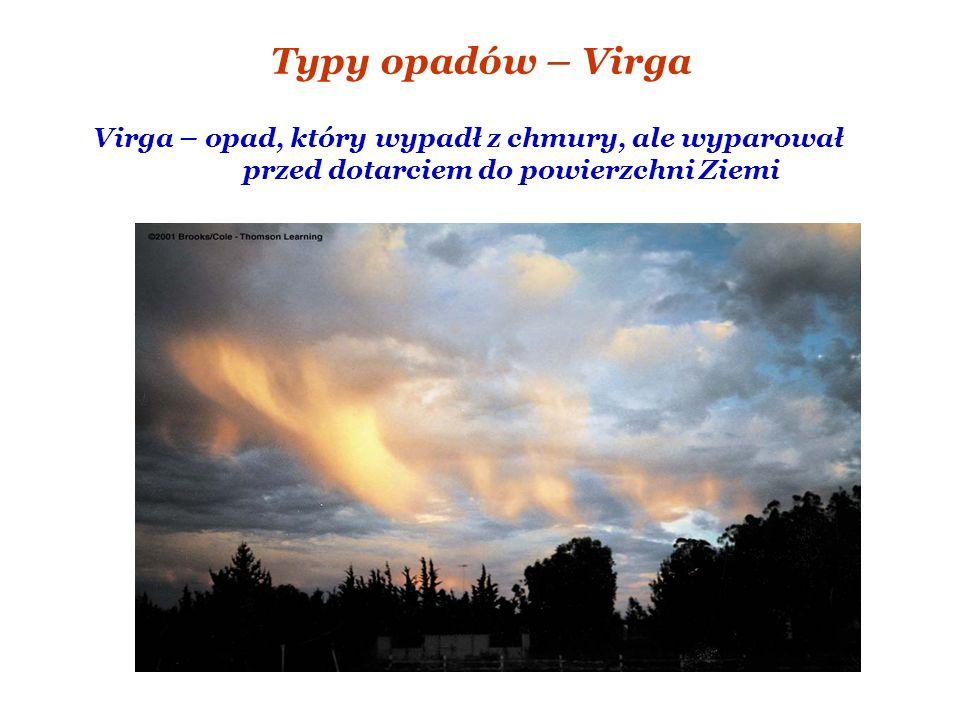 Typy opadów – Virga Virga – opad, który wypadł z chmury, ale wyparował przed dotarciem do powierzchni Ziemi.
