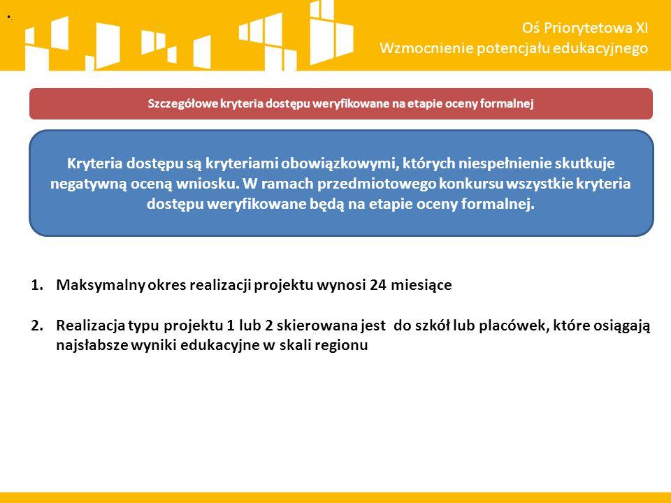 Szczegółowe kryteria dostępu weryfikowane na etapie oceny formalnej