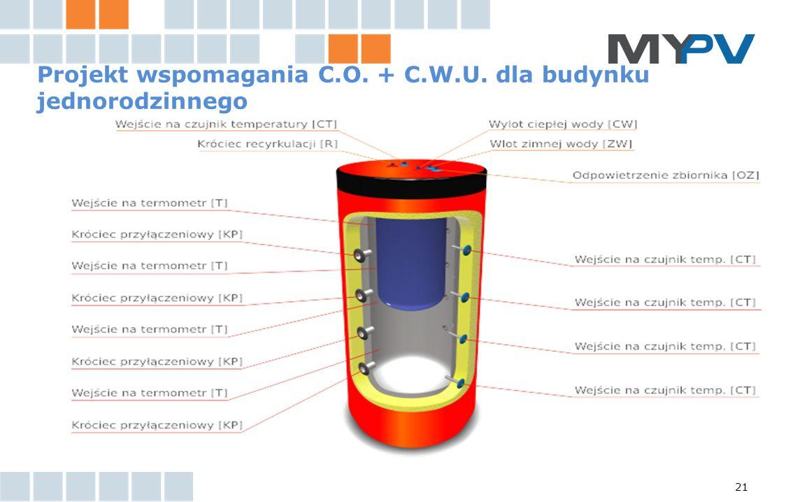 Projekt wspomagania C.O. + C.W.U. dla budynku jednorodzinnego