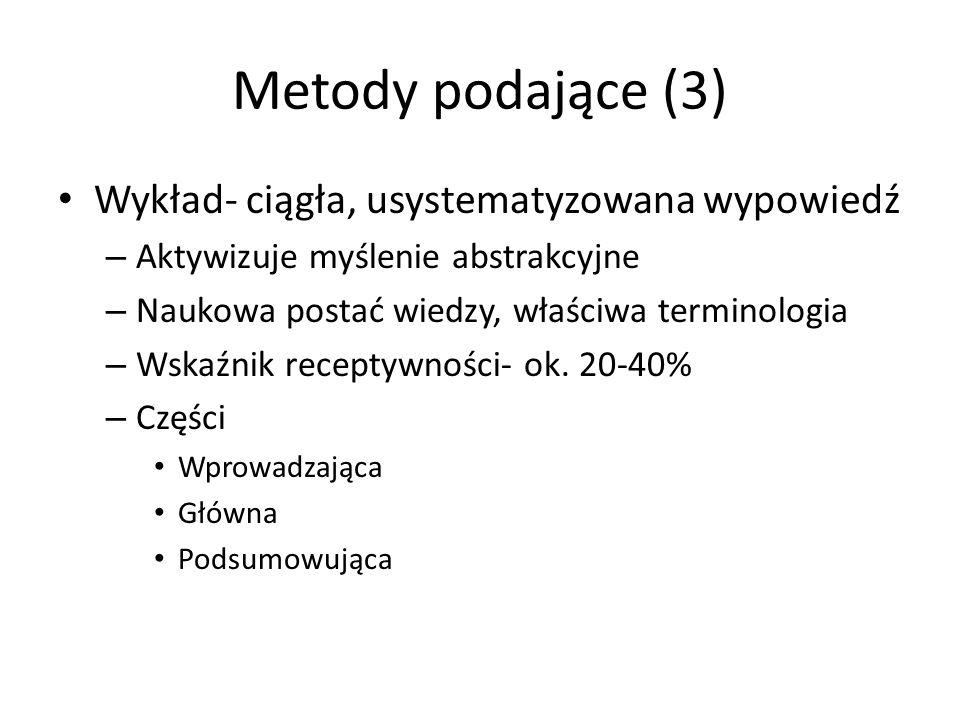 Metody podające (3) Wykład- ciągła, usystematyzowana wypowiedź