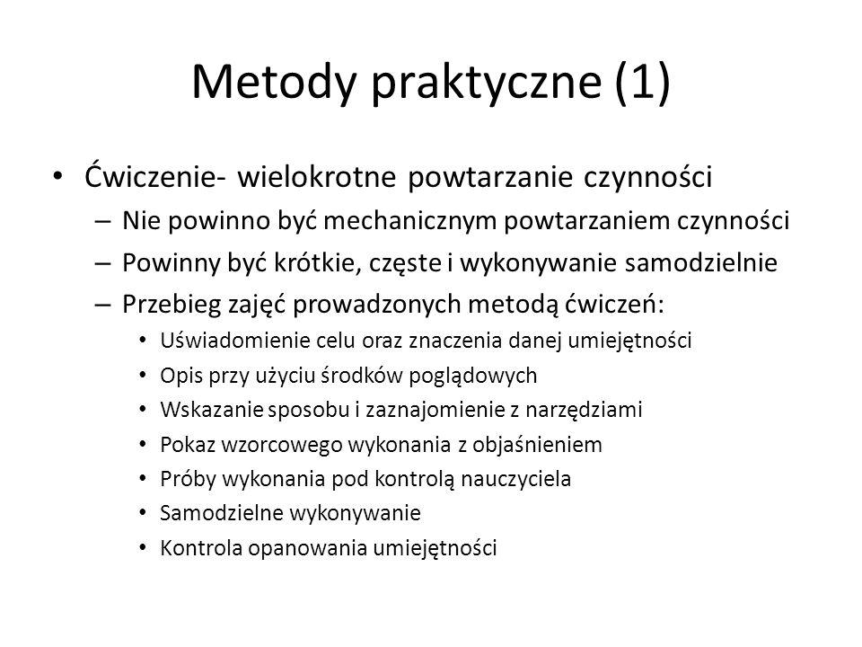 Metody praktyczne (1) Ćwiczenie- wielokrotne powtarzanie czynności