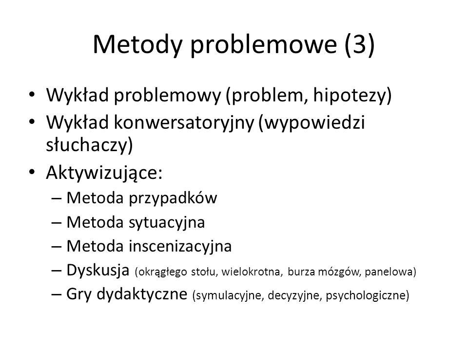 Metody problemowe (3) Wykład problemowy (problem, hipotezy)