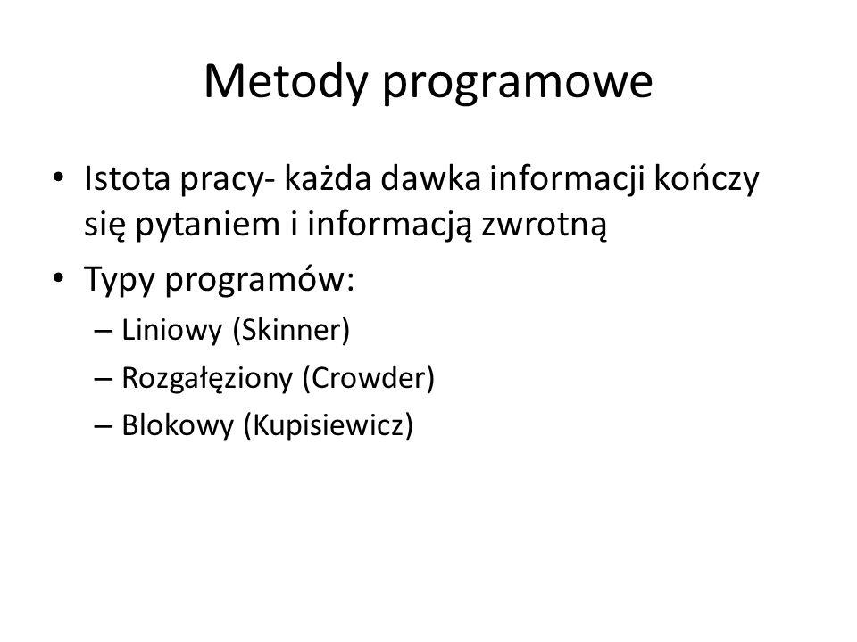 Metody programowe Istota pracy- każda dawka informacji kończy się pytaniem i informacją zwrotną. Typy programów: