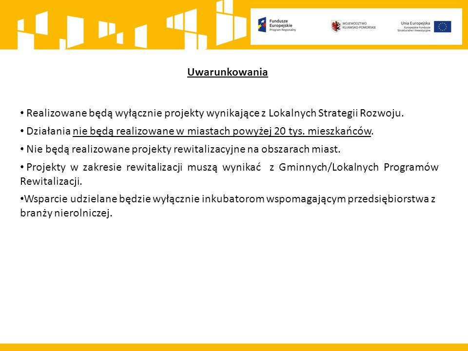 Uwarunkowania Realizowane będą wyłącznie projekty wynikające z Lokalnych Strategii Rozwoju.