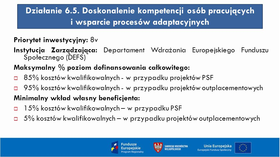 Działanie 6.5. Doskonalenie kompetencji osób pracujących i wsparcie procesów adaptacyjnych