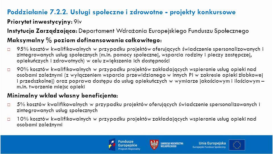 Poddziałanie 7.2.2. Usługi społeczne i zdrowotne - projekty konkursowe