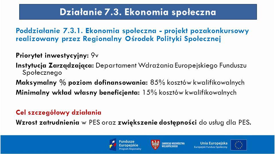 Działanie 7.3. Ekonomia społeczna