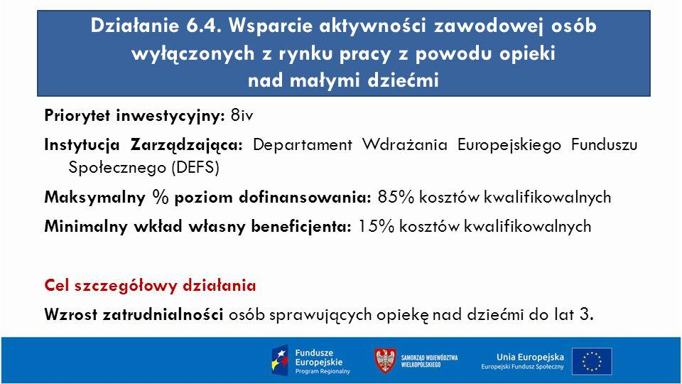 Działanie 6.4. Wsparcie aktywności zawodowej osób wyłączonych z rynku pracy z powodu opieki nad małymi dziećmi