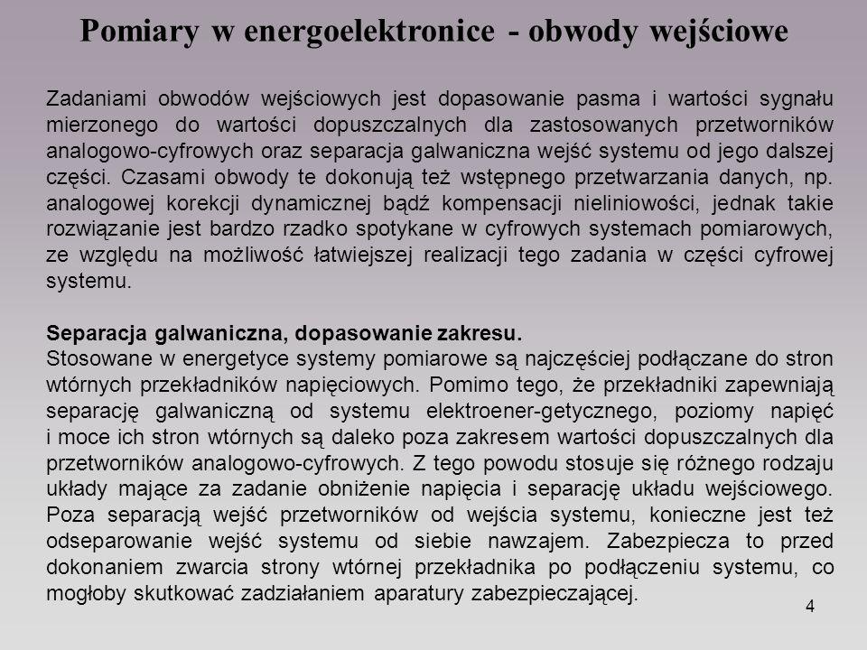 Pomiary w energoelektronice - obwody wejściowe