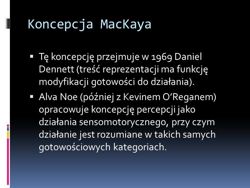 Koncepcja MacKaya Tę koncepcję przejmuje w 1969 Daniel Dennett (treść reprezentacji ma funkcję modyfikacji gotowości do działania).