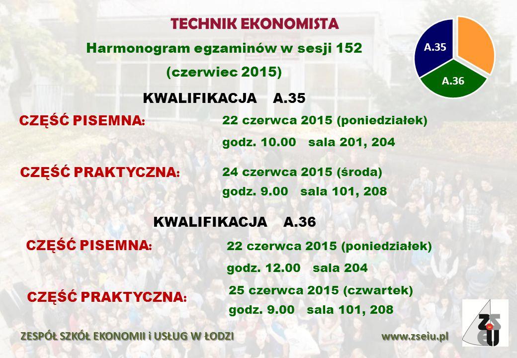TECHNIK EKONOMISTA Harmonogram egzaminów w sesji 152 (czerwiec 2015)