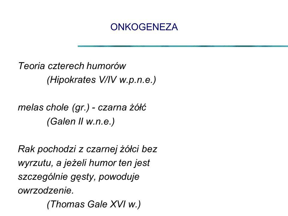 ONKOGENEZA Teoria czterech humorów. (Hipokrates V/IV w.p.n.e.) melas chole (gr.) - czarna żółć. (Galen II w.n.e.)
