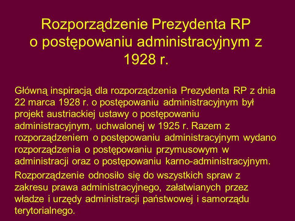 Rozporządzenie Prezydenta RP o postępowaniu administracyjnym z 1928 r.