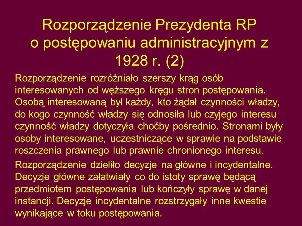 Rozporządzenie Prezydenta RP o postępowaniu administracyjnym z 1928 r
