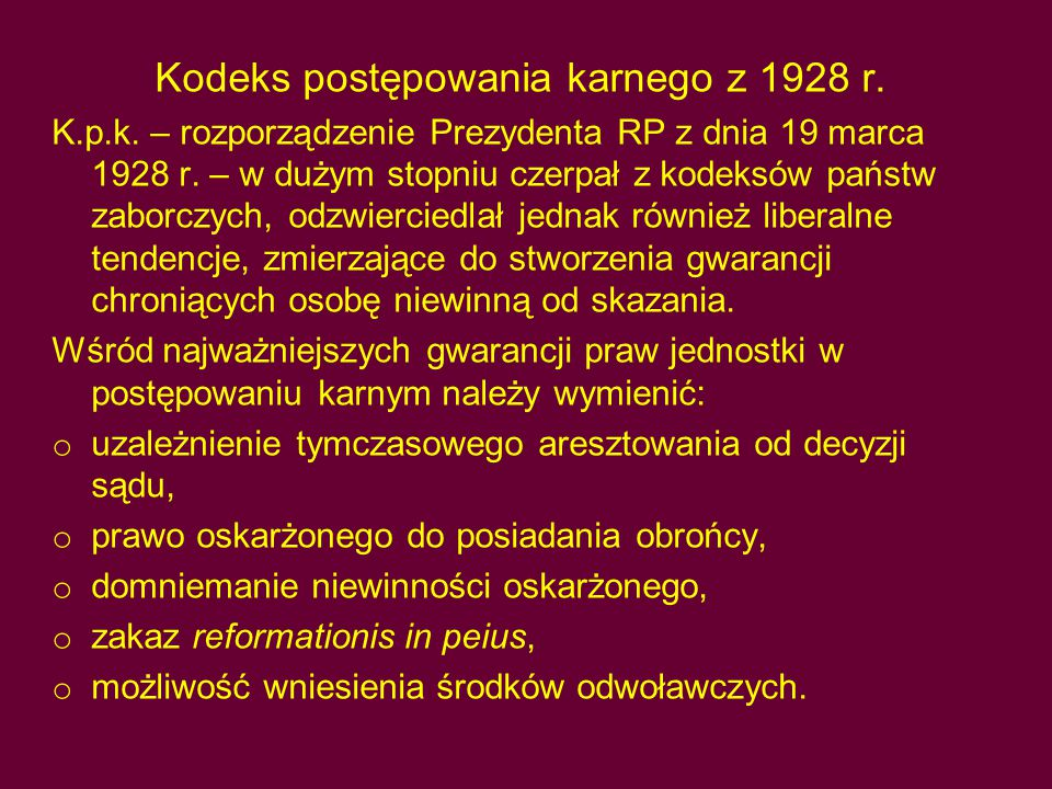 Kodeks postępowania karnego z 1928 r.