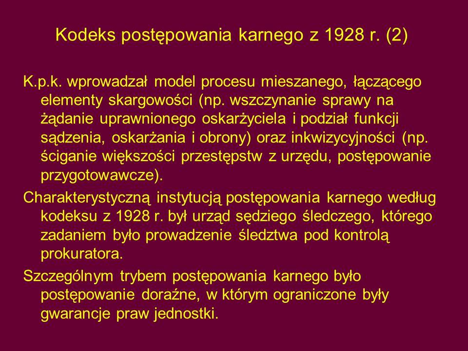 Kodeks postępowania karnego z 1928 r. (2)