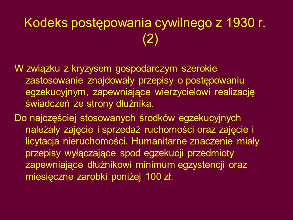 Kodeks postępowania cywilnego z 1930 r. (2)