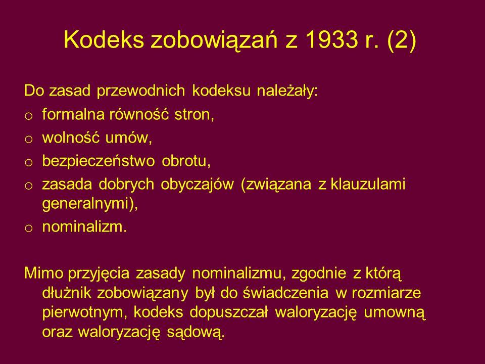Kodeks zobowiązań z 1933 r. (2)
