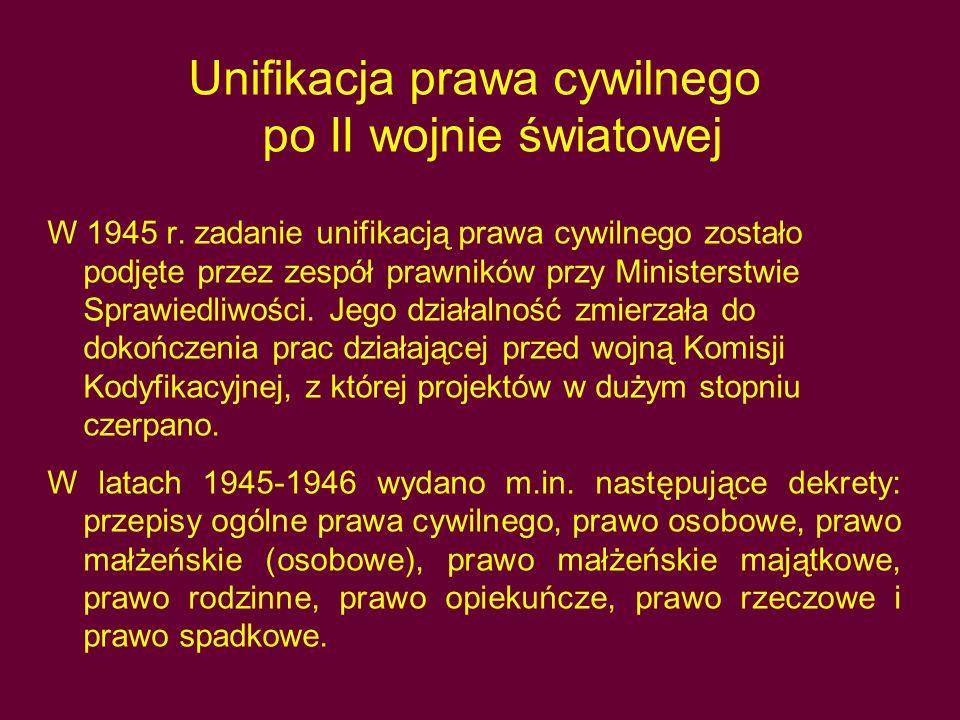 Unifikacja prawa cywilnego po II wojnie światowej
