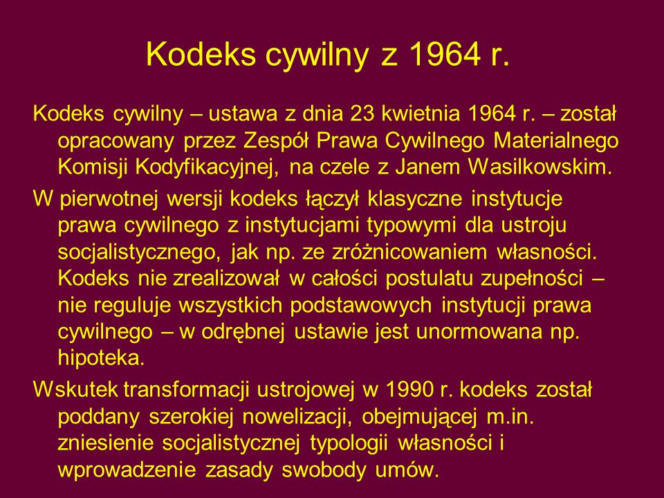 Kodeks cywilny z 1964 r.